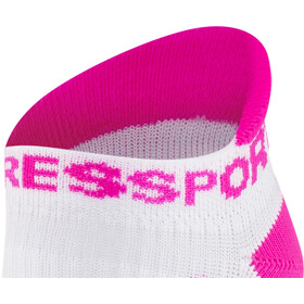Compressport Racing V2 Run Low Socks white/pink